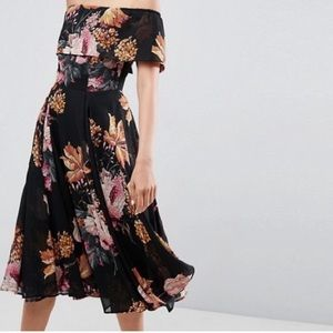 ASOS Floral Bardot Off Shoulder Dress Size 8